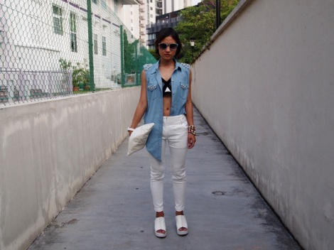 Bralet, pants (TheScarletRoom), denim vest (D.I.Y), wedges (Mum's), clutch (online spree).