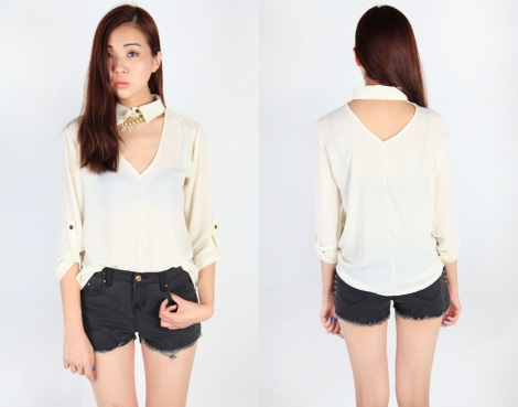 V NECK BLOUSE WITH ATTACHED COLLAR