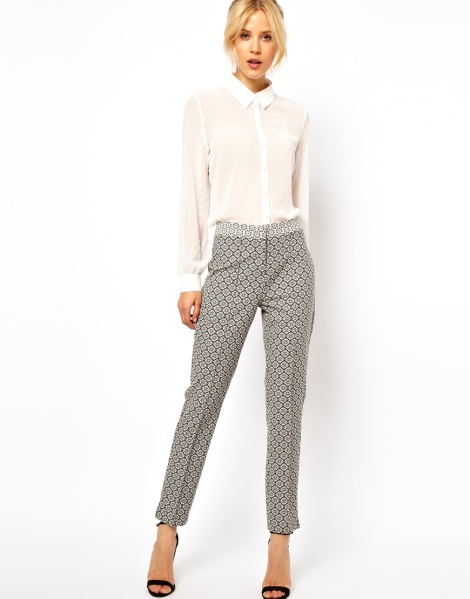 ASOS Skinny Trousers In Geo Floral Jacquard