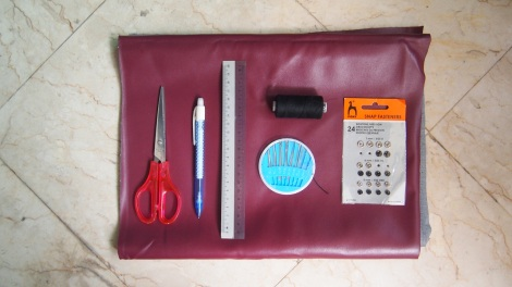 You'll need: PU Leather, Snap Fasteners, Scissors, Pen. Ruler, Thread & Needle.