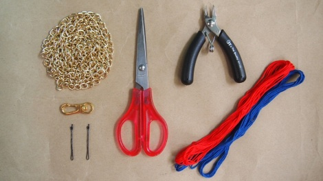 You'll need: Embroidery Thread, Chain, Hook, Scissors, Pliers, Bobby Pins (Optional).